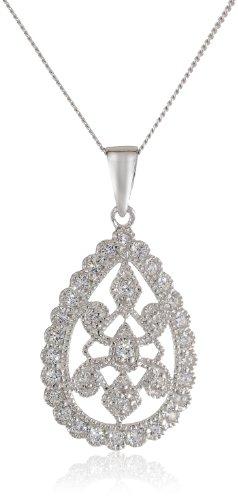 Sterling Silver Swarovski Zirconia Vintage Inspired Teardrop Pendant Necklace, 18