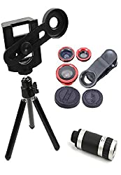 Fengfanglin Combo of 8X Zoom Universal Mobile Phone Telescope Camera Lens, Tripod & Adjustable Holder with Universal 3 in 1 Clip-on Fish Eye, Wide angle, Macro Lens for Smartphones iPhone Tablets Laptops (Random Colours)