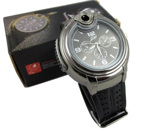 Find Discount RoKo Novelty Real Watch with Collectable Butane Cigarette Cigar Lighte (Black)