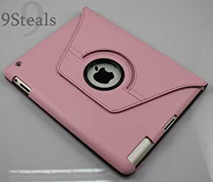 SHARKK 360 Pink Rotating iPad 2 Case (Folio Convertible Cover Multi-angle Vertical and Horizontal Stand with Smart On/Off for the Apple iPad2)