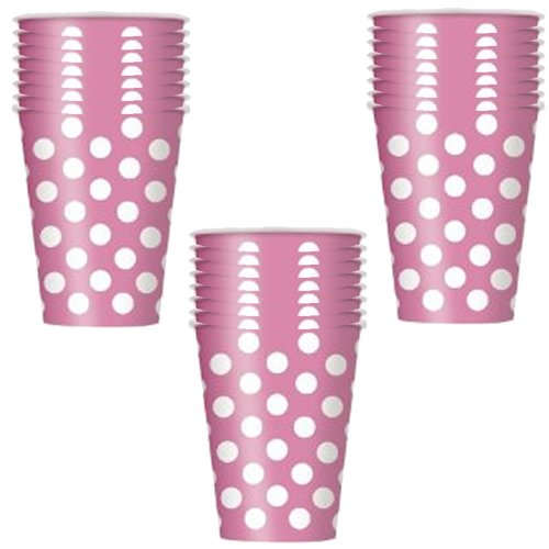 Hot Pink Polka Dot Party 12oz. Cups - 18 Guests
