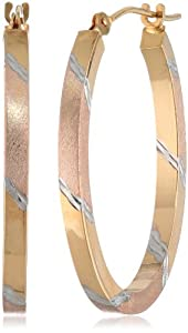 "Duragold 14k Tri-Color Oval Diamond-Cut Hoop Earrings, (0.87"" Diameter) from Amazon Curated Collection"