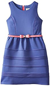 Blush by Us Angels Big Girls' Scuba Dress with Princess Seams, Cobalt, 7
