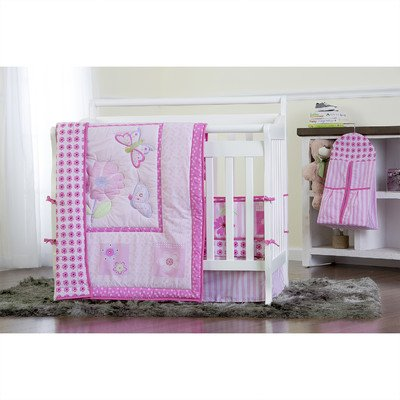 Dream On Me Pink Butterfly and Flower 5 Piece Set Reversible Portable Crib Bedding Set - 1
