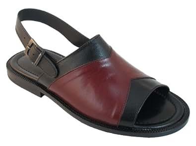 Men's Davinci Italian Leather Open Toe Sandals 871 Black Size 47