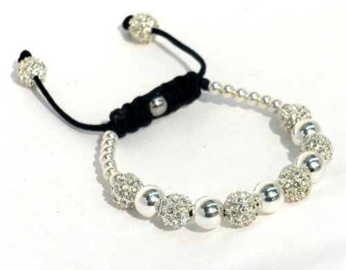 Macrame Bracelet With 8mm Silver Plated Crystal Pave and 925 Sterling Silver Beads With Macrame Lock and Pave Bead Ends Adjustable Handmade Unisex