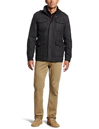 Dockers Men's Fancy 4 Pocket Military Jacket, Gray, Medium