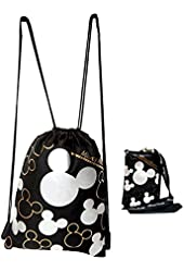 Disney Mickey Mouse Drawstring Backpack & Lanyard 2 Pack Silver