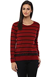 Annabelle by Pantaloons Women's Round Neck Sweater (205000005619481, Red, Small)