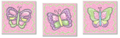 The Kids Room by Stupell Colorful Pastel Butterflies 3-Piece Ssquare Wall Plaque Set