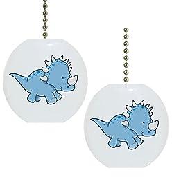 Set of 2 Baby Styracosaurus Dinosaur Dino Solid Ceramic Fan Pulls