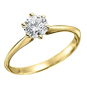 GIA Certified 14k yellow-gold Round Cut Diamond Engagement Ring (1.00 cttw, D Color, VVS2 Clarity)