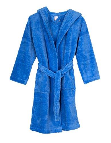 TowelSelections Little Girls' Hooded Plush Robe Soft Fleece Bathrobe Size 4 Azure Blue