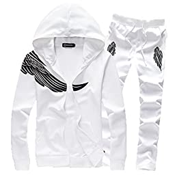 Asali Men\'s Wing Print with Zipper Sweatshirt Sweats and Pants Set Tracksuit White M