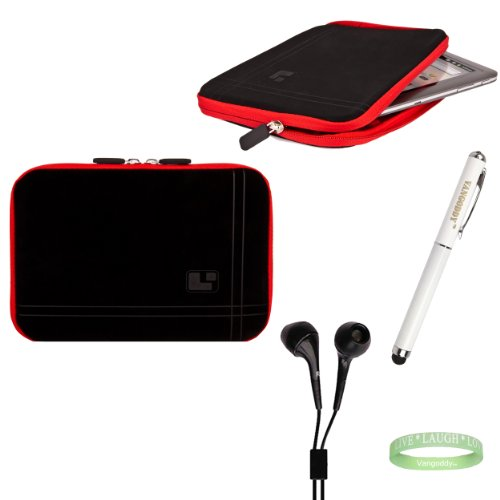 Black And Red Sleeve, Bubble Like Interior Lining To Prevent Scratches For Your 8Inch Tablet + Electric Geen Vangoddy Bracelet + 3 In 1 Styuls + Universal Earbuds!!!