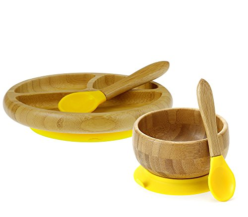 buy Maven Gifts: Avanchy Baby Feeding Gift Set - Bamboo Stay Put Suction Bowl with Spoon, Yellow, and Bamboo Stay Put Suction 3-Section Plate with Spoon, Yellow - Ages 6 Months and Up for sale