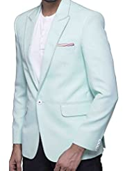 Azio Design Solid Aqua Blazer For Men