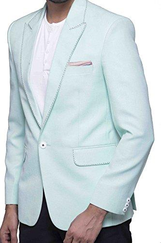 Azio Design Solid Aqua Blazer For Men