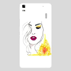 Back cover for Lenovo K3 Note Beautiful Shy Girl Sketch