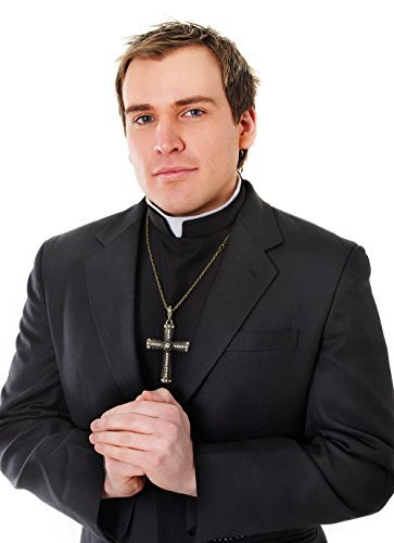 Priest Shirt Front With Collar Costume for Cardinal Pope father Fancy Dress Kit Set by Partypackage (Priest Collar Costume)