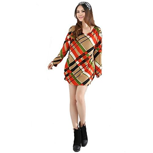 MEILISHO® Damen Kleid Lang Sleeve Loose Fit Perfect Für Plump Girls (Style 3)