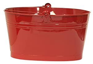 HIT 8527E XR Oval Enameled Galvanized Heavy Gauge Steel French Planter/Tub, Red