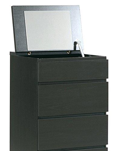 Chiffonnier en bois avec 5 tiroirs et 1 miroir coloris café, L 44 x P 107 x H 38 cm -PEGANE-