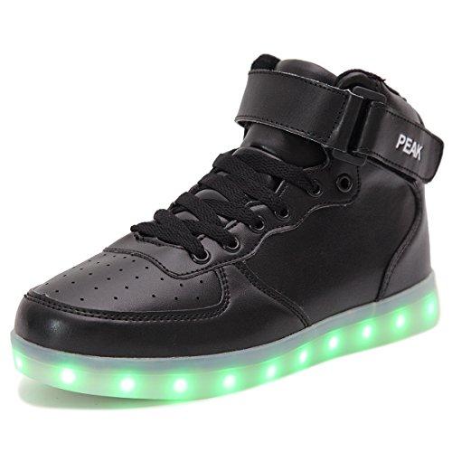 PEAK Ragazza Ragazzi LED lampeggiante Scarpe Sneaker Scarpe sportive (EU 32, High top Nero)