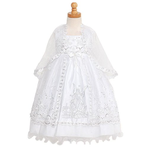 Rain Kids Baby Girls 6M White Silver Embroidered Angel Baptism Dress front-839085