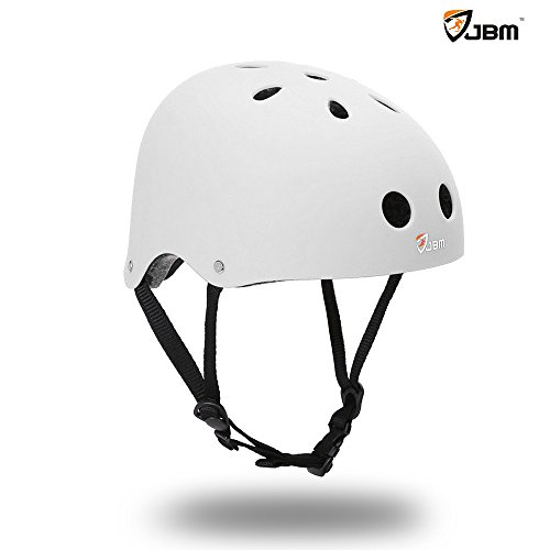 JBM Helmet for Multi-sports Bike Cycling, Skateboarding, Scooter, BMX Biking, Two Wheel Electric Board and Other Sports [Impact Resistance] (White, Youth / Teens)