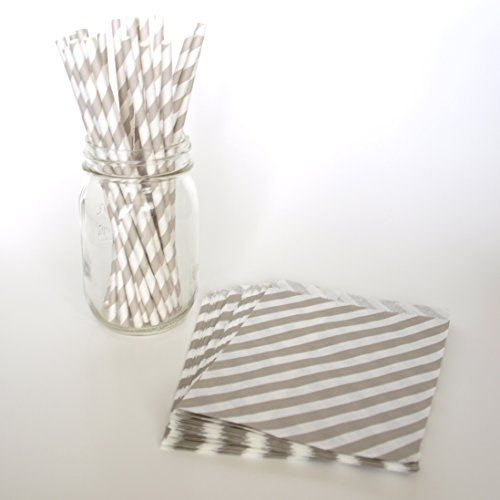 Candy Buffet Bags, Party Drinking Straws, Bridal Gift Bags, Pretty Paper Straws, 2 Combo Party Supply Kit - Silver Striped front-817602