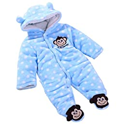 Wantdo Baby\'s Toddler Velour Winter Autumn Cute Footed Jumpsuit Front Button Blue 6-9 Months