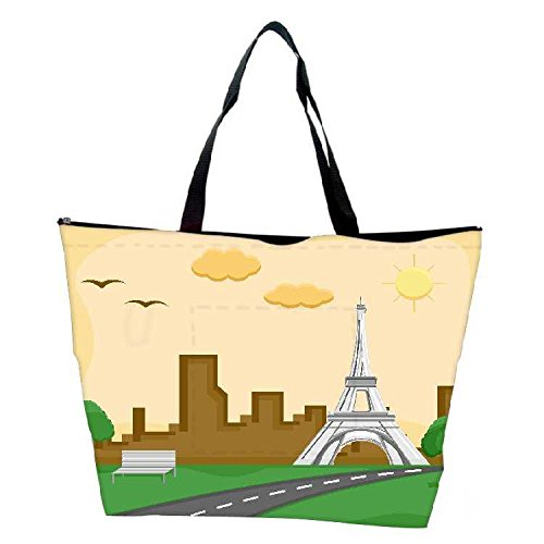 Snoogg France Eiffel Tower Cartoon Background Vector Waterproof Bag Made Of High Strength Nylon