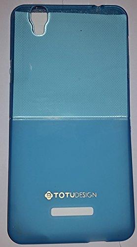 NBD MICROMAX YU YUREKA HALF TRANSPARENT H/Q FANCY SOFT BACK COVER TOTU DESIGN CASE BLUE
