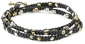 M.Cohen Handmade Designs Triple Wrap with Mini and Brass skulls on Wax Cord