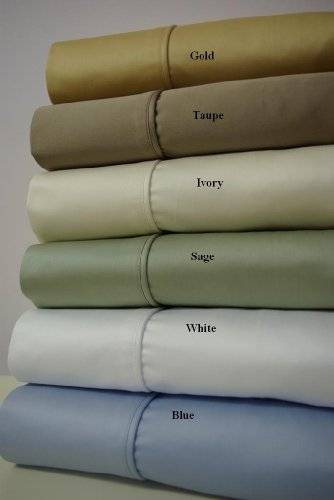 Cal-Queen Sage Unattached Waterbed Egyptian-Cotton-Blend Wrinkle-Free Sheets 650-Thread-Count Sheet Set