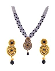 Golden Plated Black And White Stones Pendant Set For Women