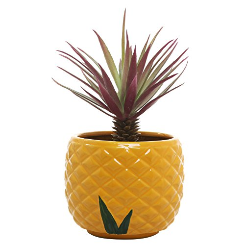 4 Inch Pineapple Design Ceramic Planter Pot, Orange