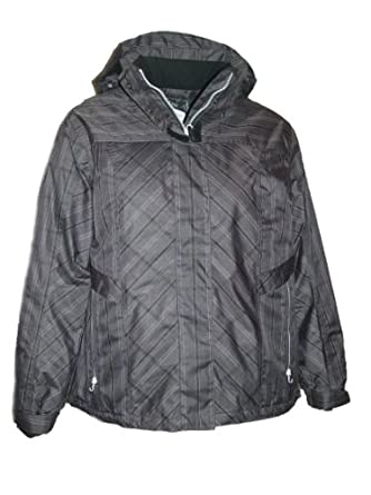 Pulse Womens Plus Size Ski Jacket Coat Insulated Plaid 1X 2X 3X 4X (3X, Black Plaid)