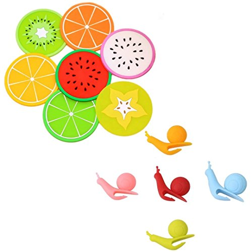 Buytra 7-Pack Silicone Fruit Drink Coaster and 5-Piece Snail Shape Silicone Tea Bag Holder (Random Color)