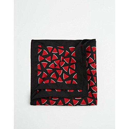 (エイソス) ASOS メンズ アクセサリー ハンカチ Pocket Square With Water Melon Print Black OneSize [並行輸入品]