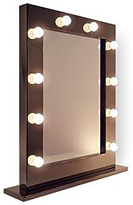 Collection diamond x miroir lumineux de loge cadre noir - Miroir de loge ...