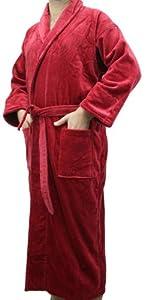 Burgundy Men, Women Robe, Shawl Collar Velour Terry Robe, One Size Fits Most