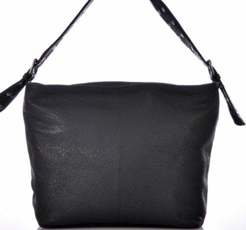 CONTEMPO Cntmp Hobo-Bag Echt Leder Tasche Schultertasche Schwarz