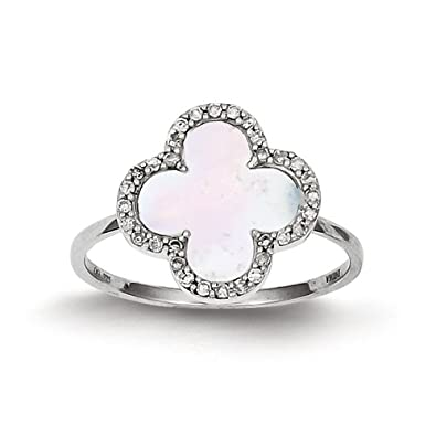 Sterling Silver Diamond and Mother Of Pearl 4-leaf Clover Ring - Size L 1/2