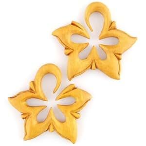 """Amazon.com: Pair of Tewel Wood La Estrellas: 7/16"""": Body Piercing"""