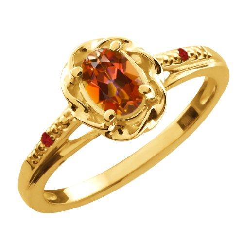 0.57 Ct Oval Ecstasy Mystic Topaz Red Garnet 10K Yellow Gold Ring