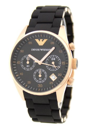Emporio Armani Classic Collection Men's Quartz Watch with Black Dial Analogue Display and Black Rubber Strap AR5906
