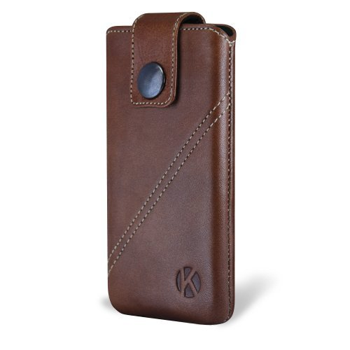 Great Sale iPhone 5 Case - Kouros Strap - Genuine Italian Leather Case - Pouch Cover (Brown)