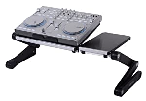 Pwr+ FlexTop Dj Laptop Stand Table Desk Tray for Dj Mixer Controller Turntable Amplifier Karaoke Machine Cd Mp3 Midi Player - Split Surface - Adjustable-angle Legs - Black